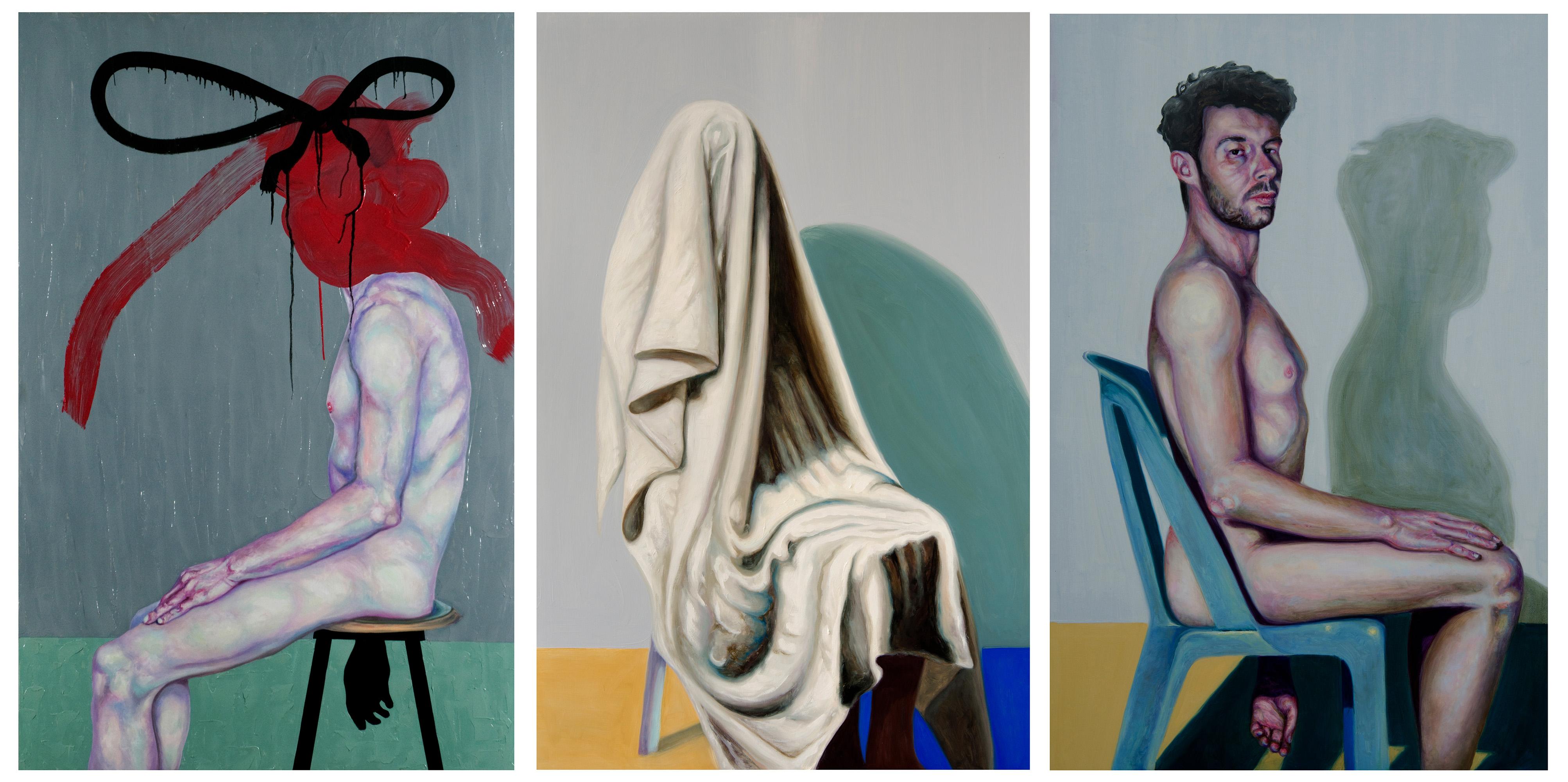 Self portrait, oil on wood, 122x80 cm (each painting), 2011-2014 © Stas Korolov