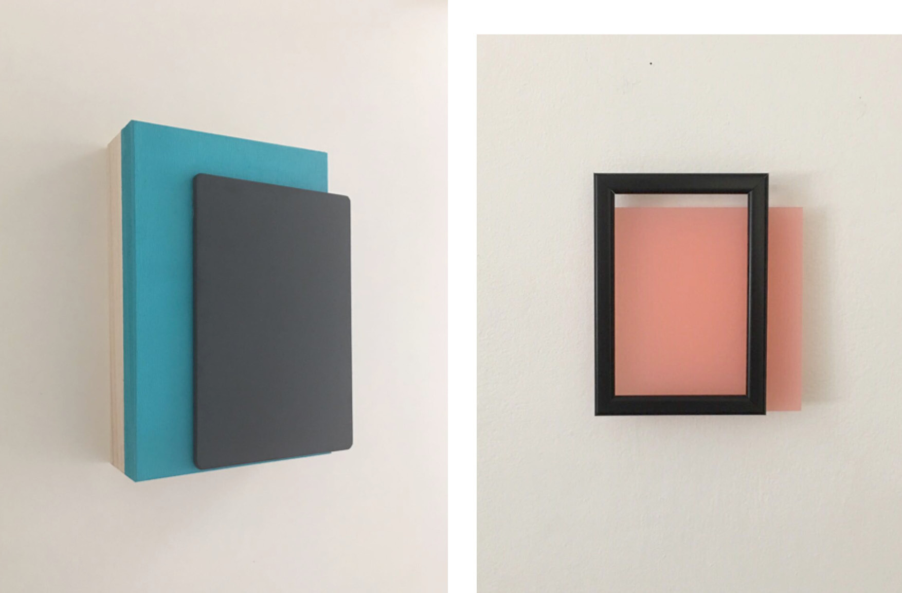 Blue (Triptych), 18.7 x 12.8 x 3.5 cm (2017) Acrylic and slate board on handmade Japanese wooden box (l) and Eirōneía, 17 x 15 cm (2017)  Black wooden frame and plexiglass (r)