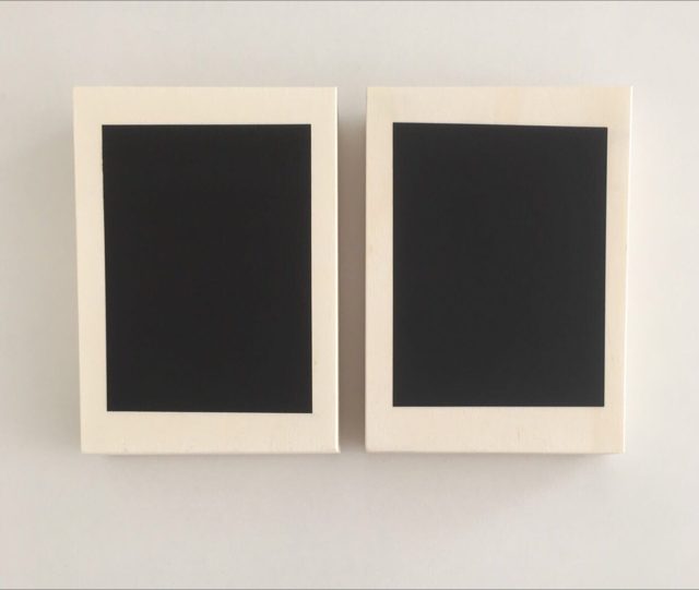 Diptych in black, 18.7 x 12.8 x 3.5 cm (2017) x2  Black vinyl stickers (matt and gloss) on handmade Japanese wooden boxes