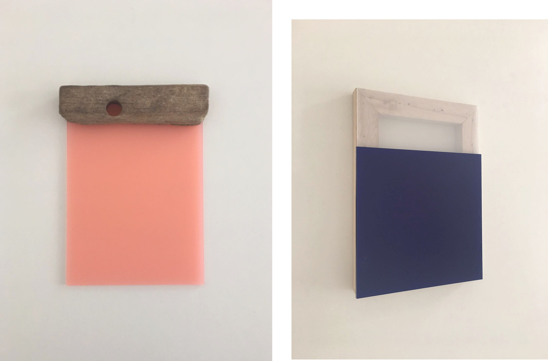 Poseidon' son, 21.5 x 15.5 x 2 cm (2017) Handpicked chunk of wood (East Sussex) on pink plexiglass (l) & Ral, 21.2 x 15 x 1.5 cm (2017) Plexiglass sheets (transparent and blue) on wooden frame