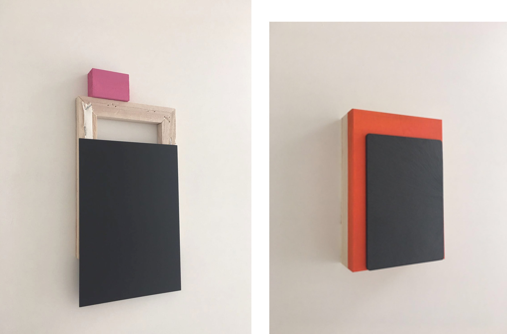 Untitled V (bis), 26 x 15 x 2 cm (2017) Acrylic, wood and plexiglass on wooden frame (l) & Orange (Triptych), 18.7 x 12.8 x 3.5 cm (2017) Acrylic and slate board on handmade Japanese wooden box