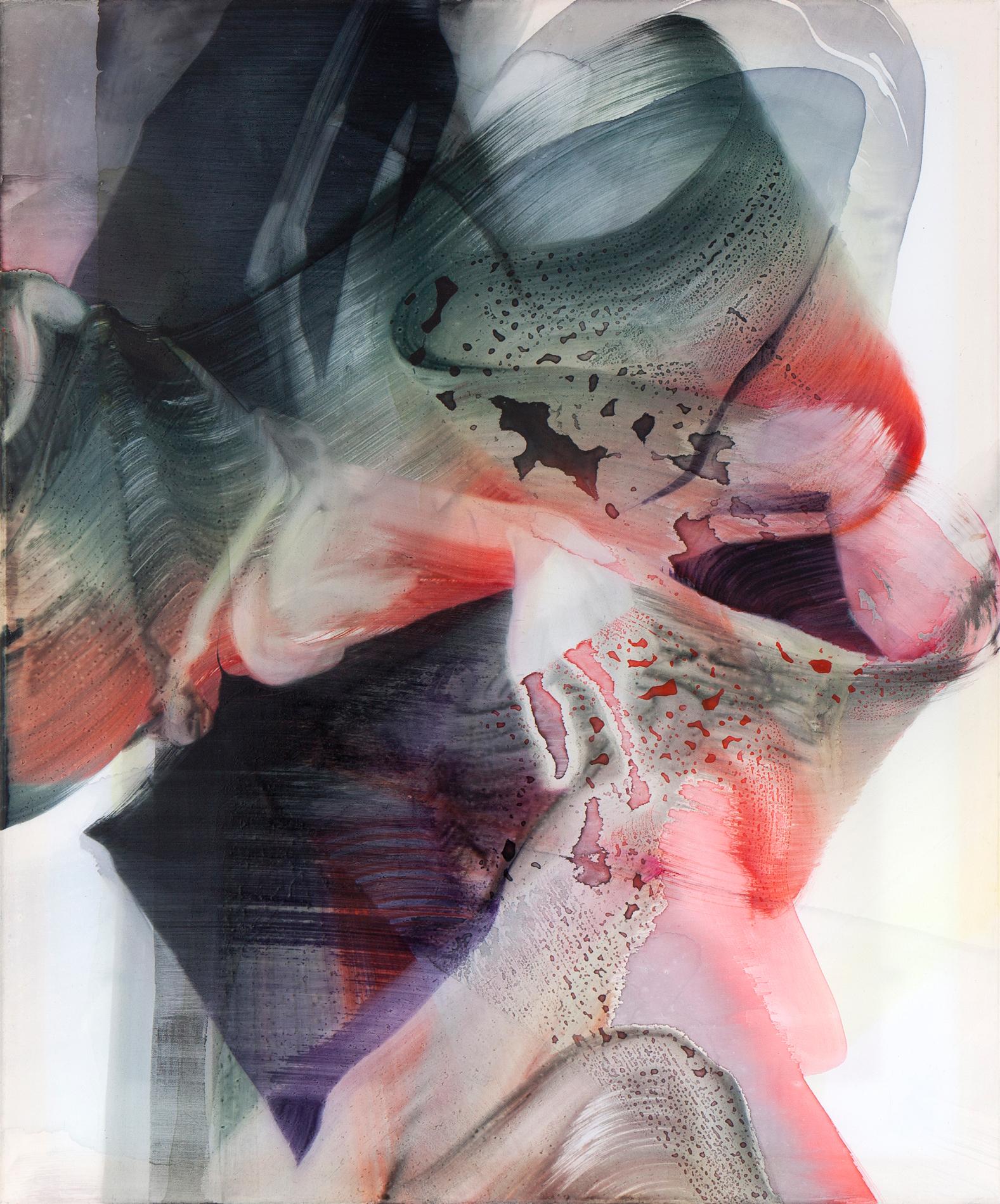 © Natascha Schmitten, Glance I, 60 x 50 cm, ink, oil on nylon, 2017