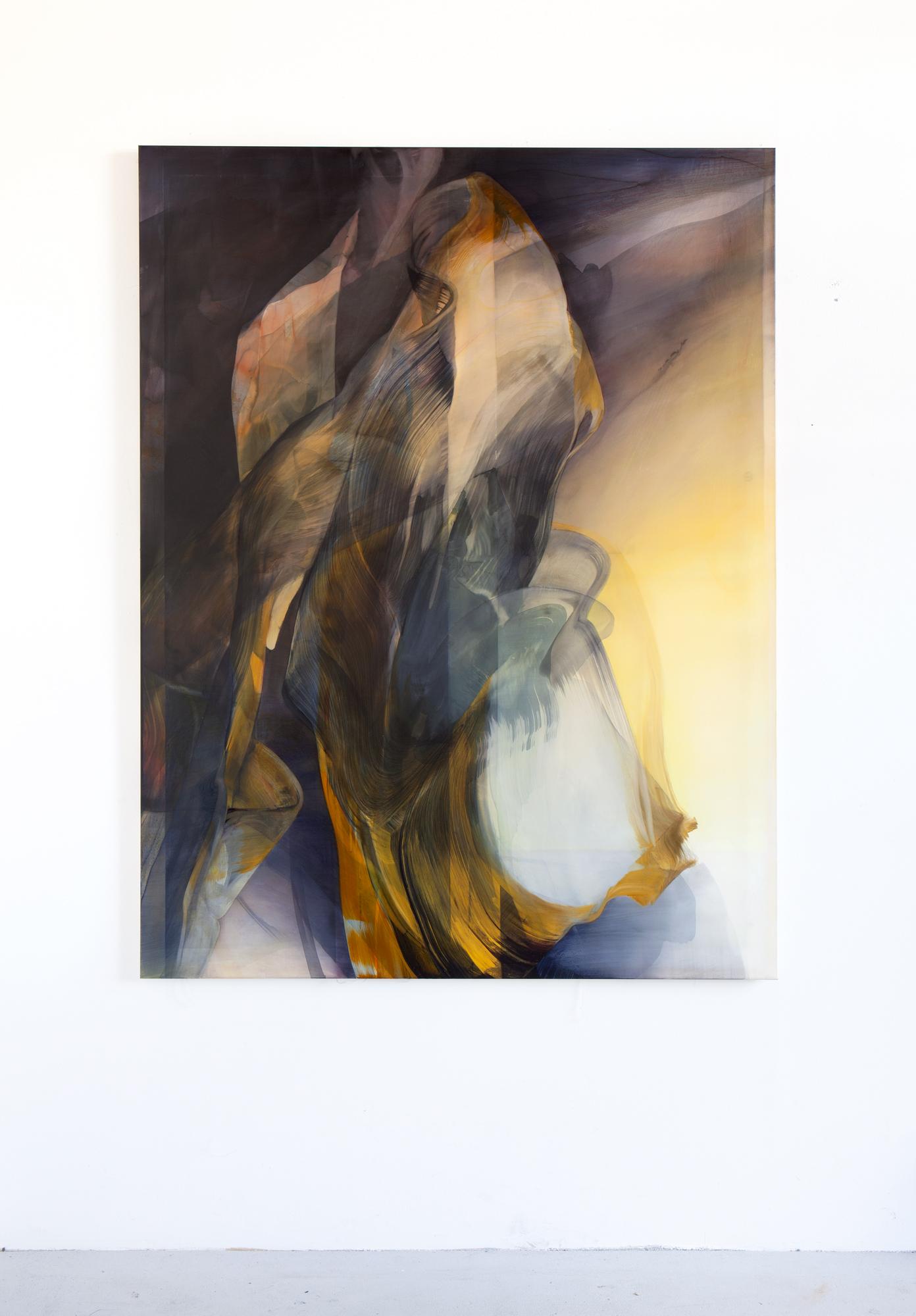 © Natascha Schmitten, Untitled, 170 x 130 cm, ink, oil on nylon, 2017