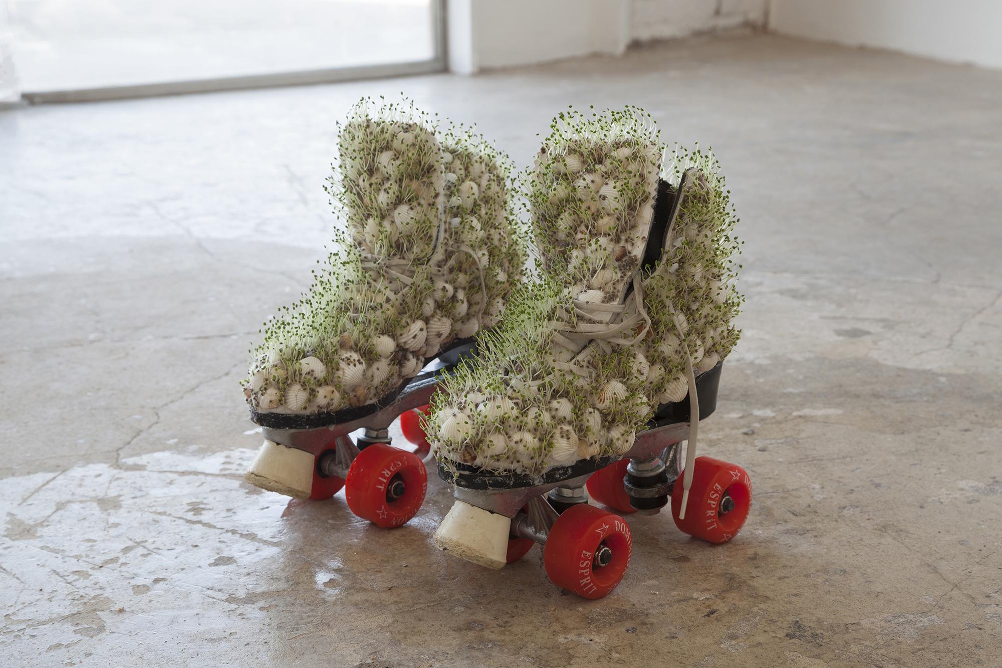 Catalina Ouyang, chia skates, 2018, roller skates, chia plants, image courtesy of Make Room LA