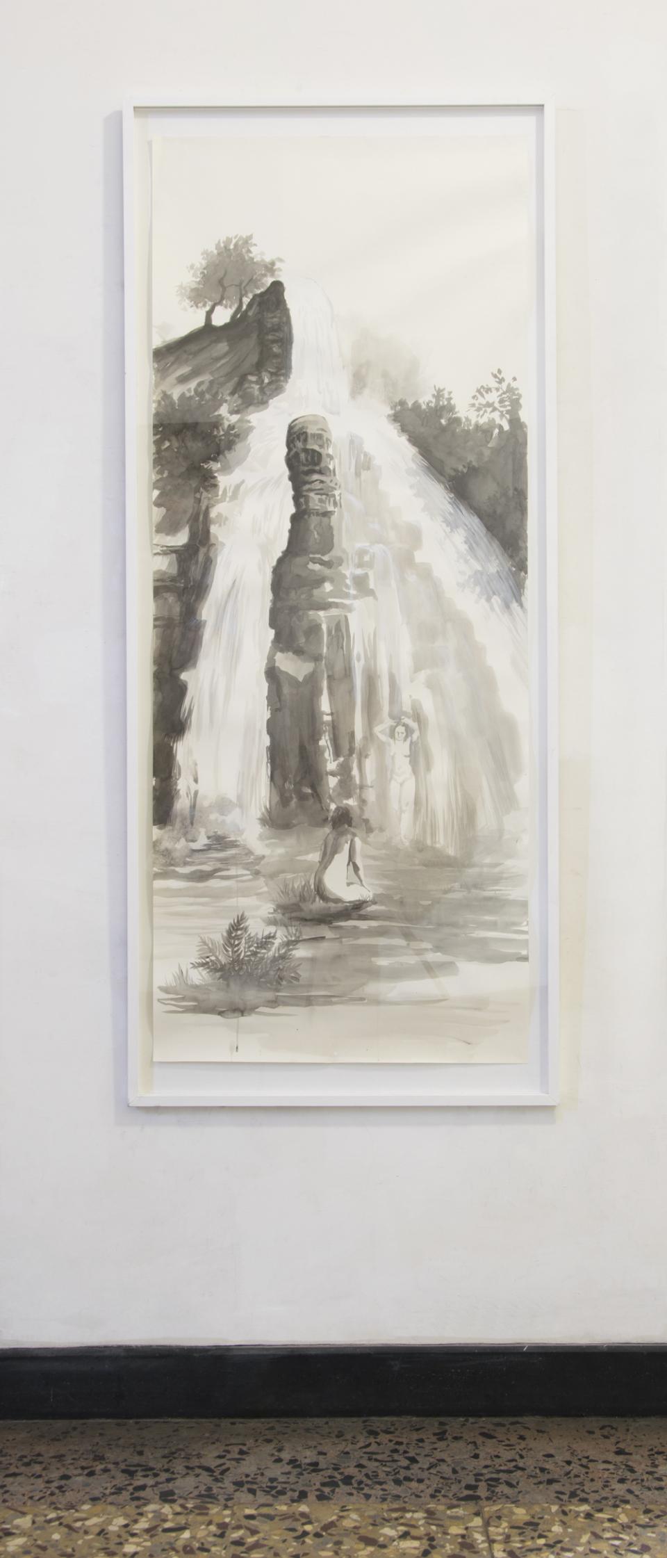© Kathrin Edwards, cascade, ink on paper, 70x177cm, 2018