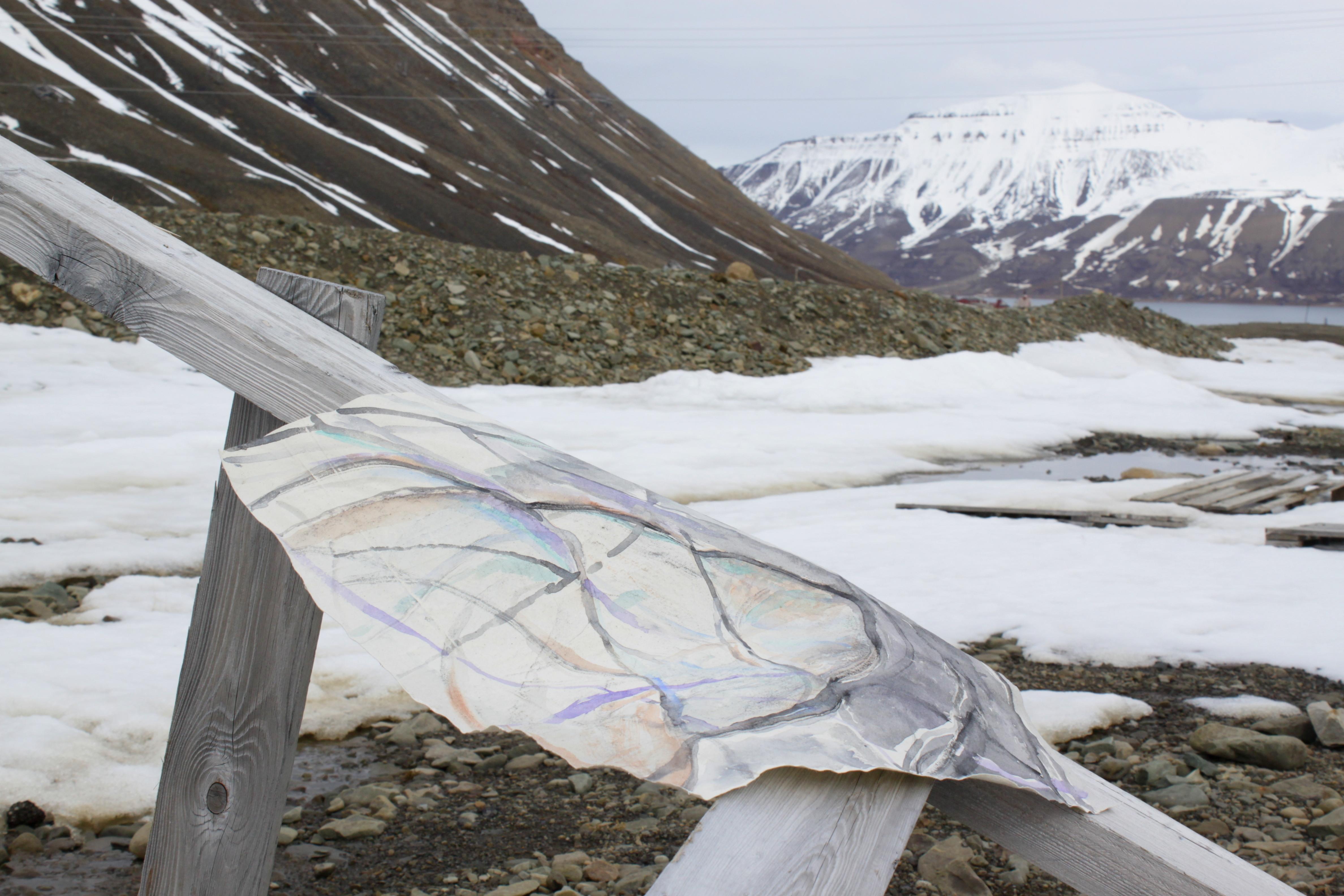 Linda Hemmersbach, Painting experiment in Svalbard, 2018