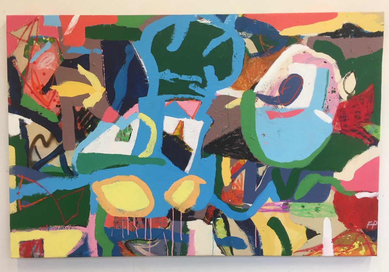 Fergus Polglase, Strong bones 2018 - 1m x 1.5m - Acrylic, spray paint, oil bar, pastel and charcoal on canvas