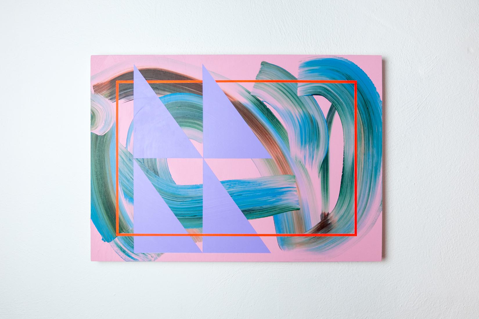 Lisa Denyer Pushgo 2018 acrylic and collage on plywood 45x63cm