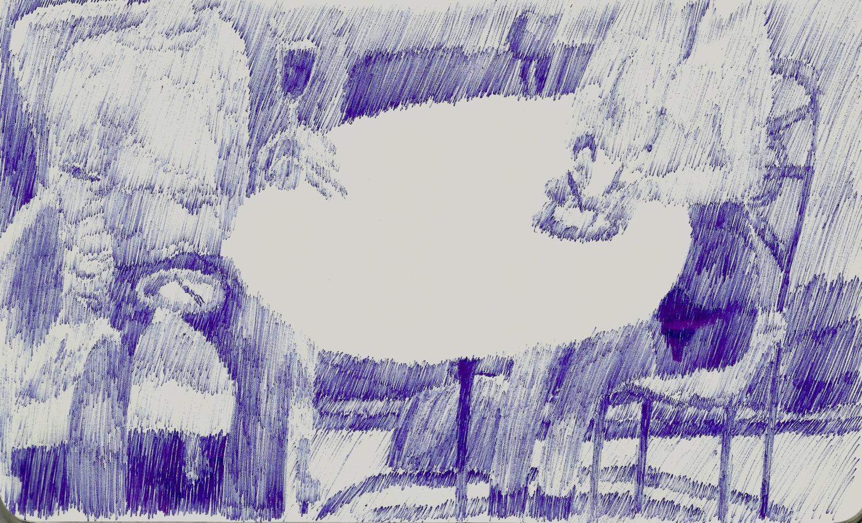 Christmas, Biro on Paper, 13 x 21cm, 2018