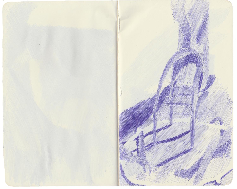 Hot Seats, Biro on Paper, 13 x 21cm