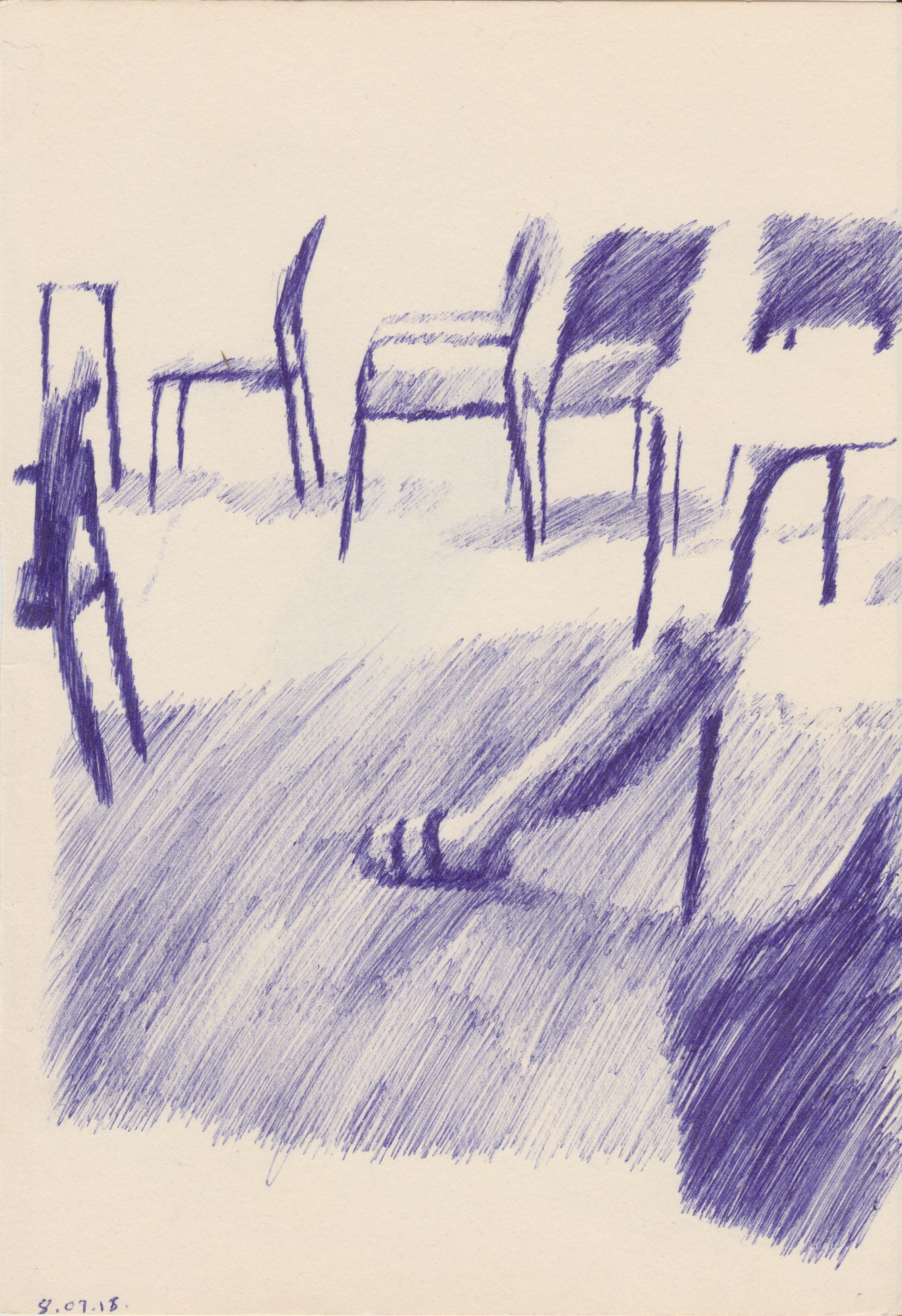 Hot Seats, Biro on Paper, 14.8 x 21cm, 2018