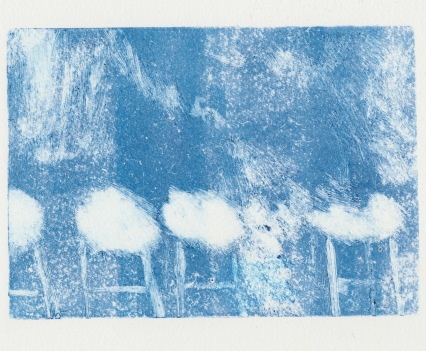 Stalled, Relief Ink Monoprint, 14.8 x 21 cm