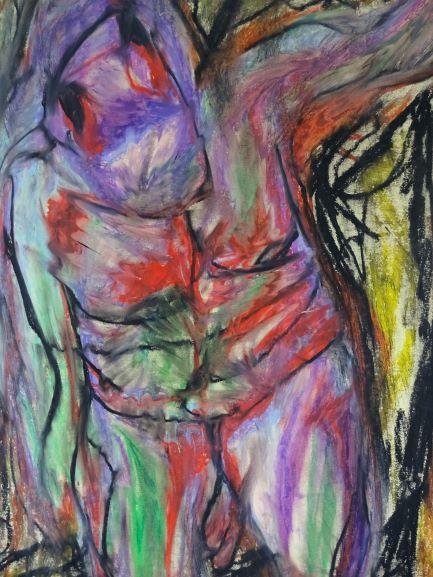 Clara Bolle, Pyramus, 2019, 65 cm x 50 cm, oil pastel on paper, small
