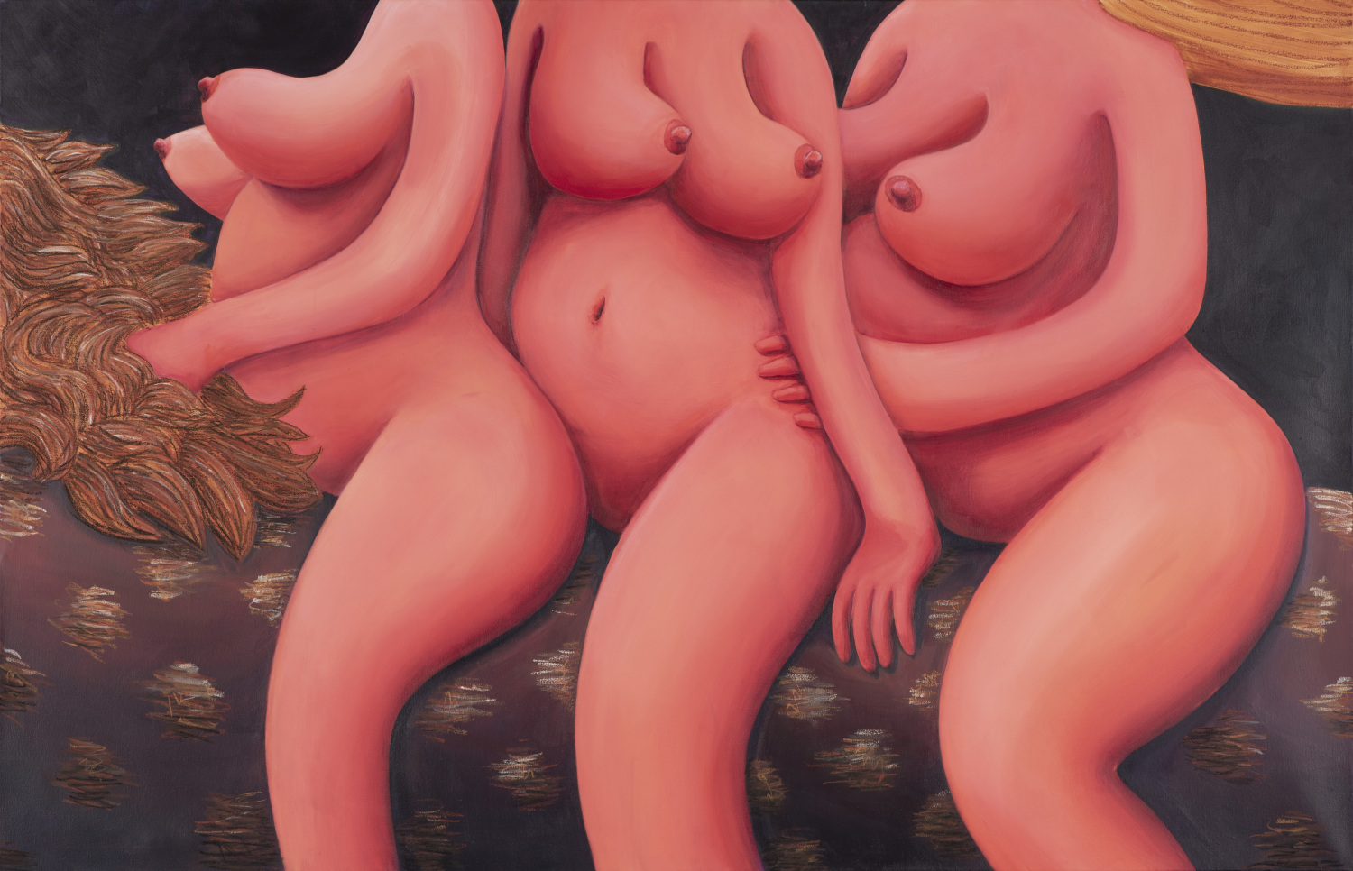 Tamara Malcher, The Three Graces, 2020, acrylic paint and pastels on canvas, 135 x 210 cm