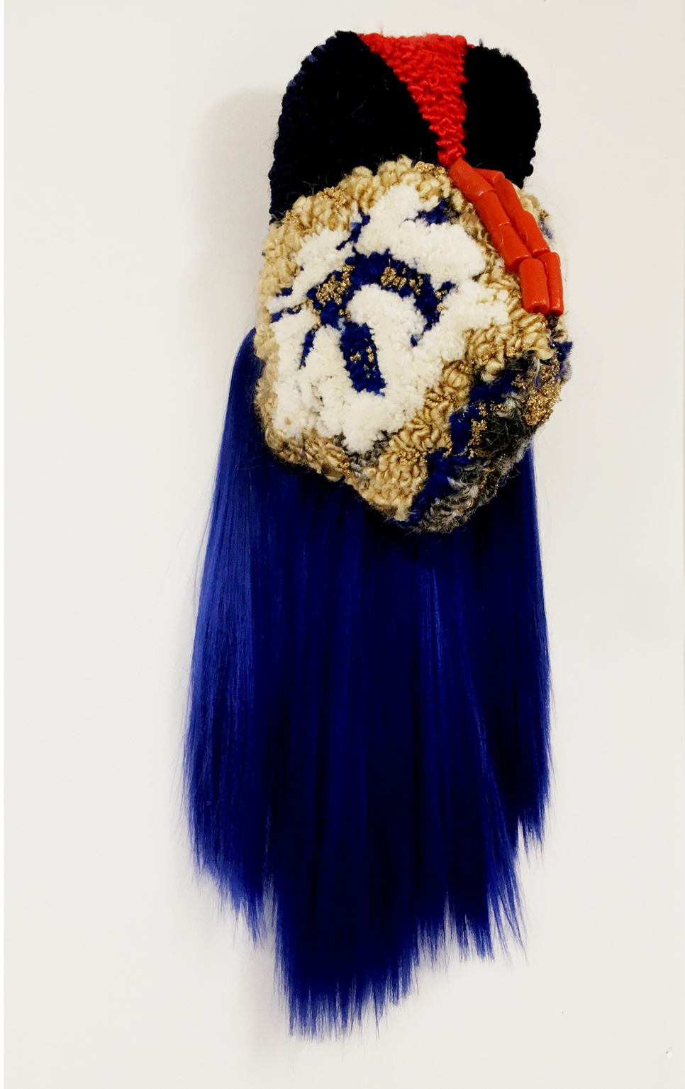 The Tinwomen, 75x30x25 cm, tufted yarn and artificial hair, beads, 2020 image Anna Perach