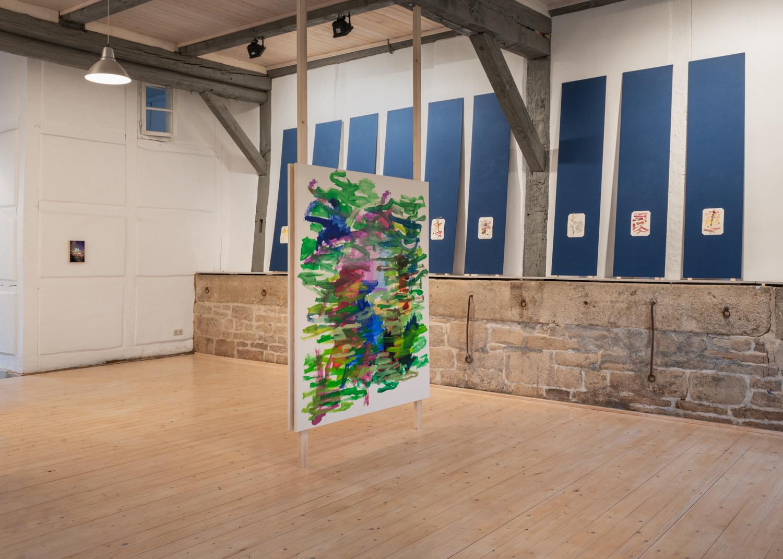 ©Maximilian Neumann, Gemalt, wie ich dachte, dass ein Bild aussehen soll, dass ich gemalt habe 2019 Öl auf Leinwand 140x170cm, exhibition: PAMPAS at KW Kunstraum Walshausen picture: Volker Crone